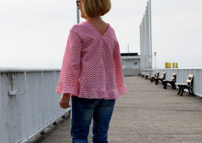 Bluse rot mit Libellen: Burda 4/2019 Nr 101