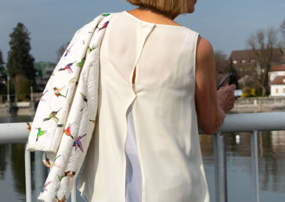 Bluse doppellagig reinweiß/creme: Schnitt selbst vom einem geliebten Kaufteil abgenommen