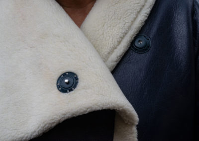 Detail: Jacke aus Kunstleder mit Plüsch-Abseite Schnitt: Burda 01/2019 Nr 110