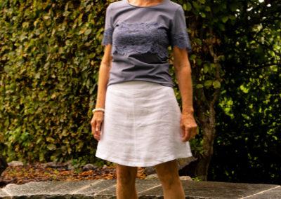 Shirt aus Baumwolljersey Ton in Ton in Kombi mit Spitze